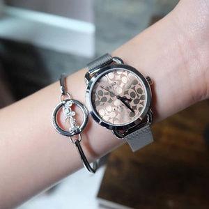 COACH W1608 Lex Watch and Bangle Gift Set Silver